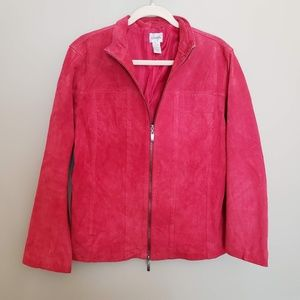 Chico's Red Suede Zip 100% Leather Jacket Size L